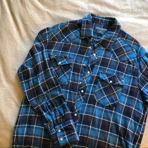 Flannel pearl snap shirt